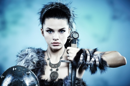 ancient warrior: Warrior woman. Fantasy fashion idea.  Stock Photo
