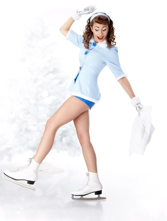 beautiful young pin-up woman going to ice skating Stock Photo - 11292716