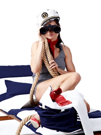 20-25 years old beautiful woman wearing sailor hat photo