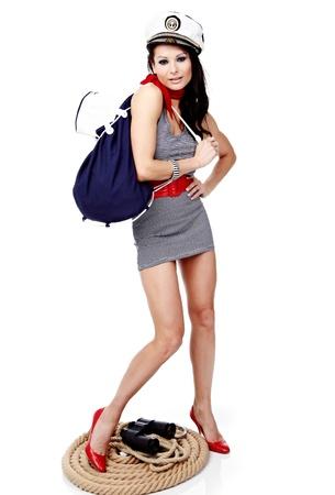 20-25 years old beautiful woman wearing sailor hat photo