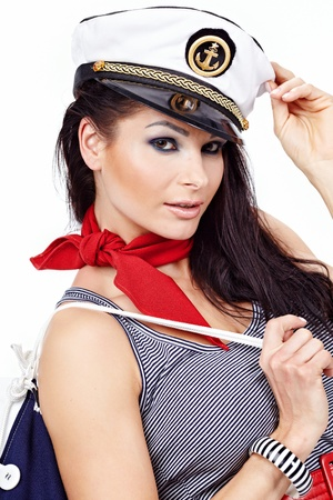 sailors: 20-25 years old beautiful woman wearing sailor hat Stock Photo