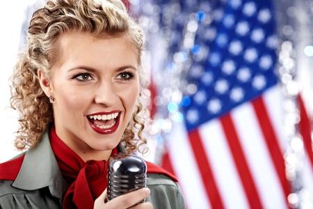 sexy army: Beautiful sexy army woman singing Stock Photo