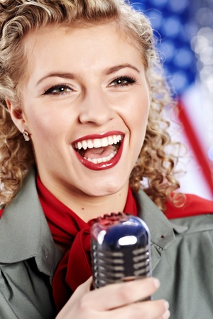 Beautiful sexy army woman singing photo
