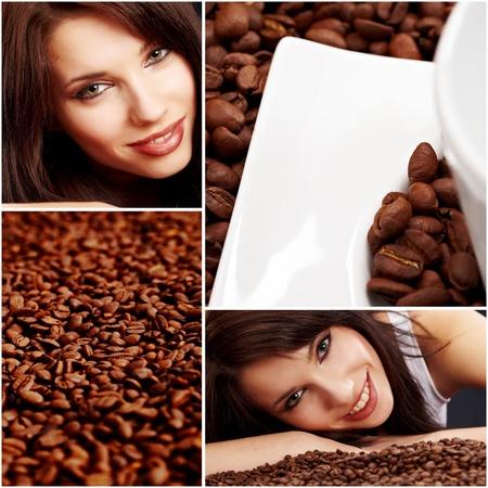 Beautiful girl in coffee collage photo