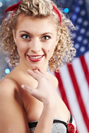 American pinup blonde girl photo