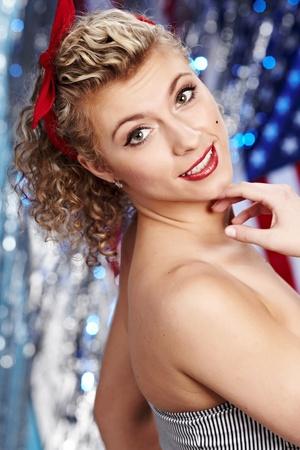 American pinup blonde girl photo