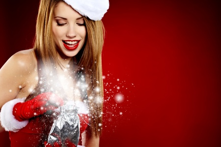 beautiful sexy girl wearing santa claus clothes Stock Photo - 11425145