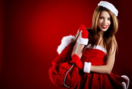 beautiful sexy girl wearing santa claus clothes Stock Photo - 11425106