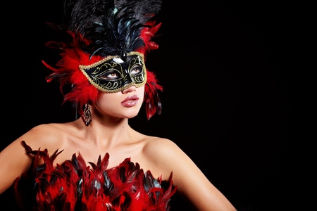 masque: beautiful woman with mask  Stock Photo