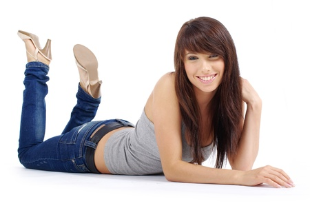 women in jeans: Beautiful girl in blue jeans Stock Photo