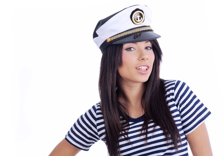 Close-up portrait of a woman as a sea captain photo