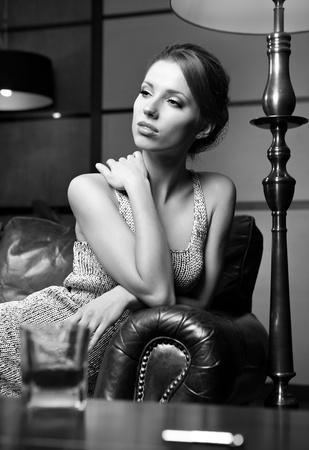 Glamour BW Portrait of sexy woman photo