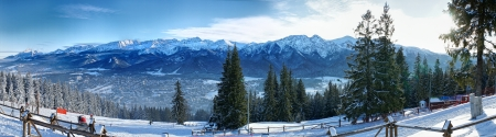 zakopane: Winter panorama. Skiing area Zakopane. Poland.