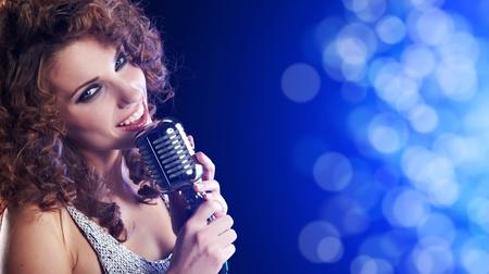 Portrait of singing woman photo