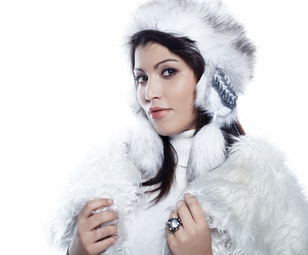 beautiful woman in warm clothing closeup portrait Stock Photo - 11903206