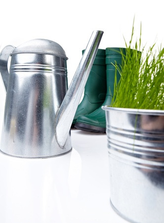 replanting: Gardening tools and houseplants - still life  Stock Photo