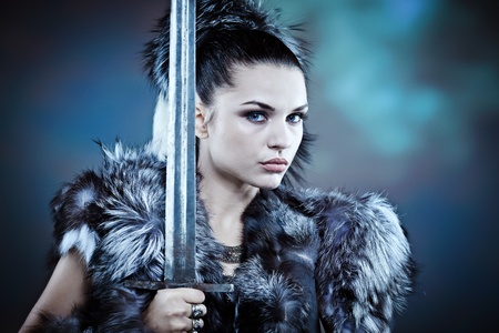 fantasy warrior: Warrior woman. Fantasy fashion idea.  Stock Photo