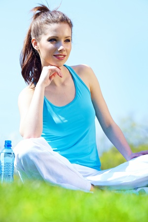 Beautiful Fitness Woman Drinking Water  Stock Photo - 12113952