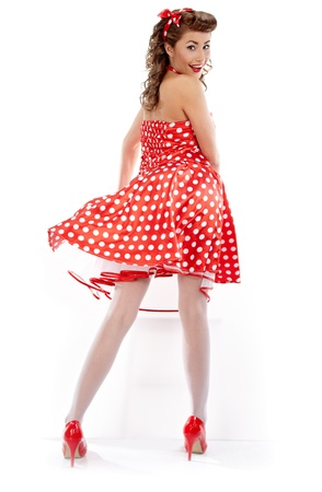 red pin: Pin-up girl. American style