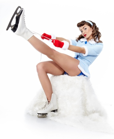 sit up: Sexy Ice Skating pin-up Woman