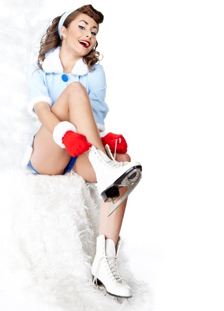 Sexy Ice Skating pin-up Woman  photo