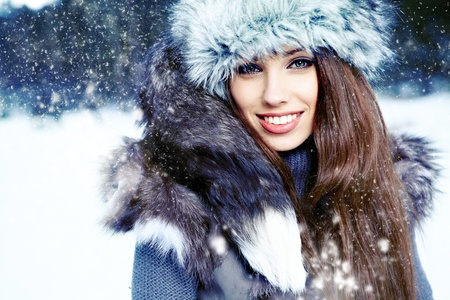winter woman: Winter woman on snow