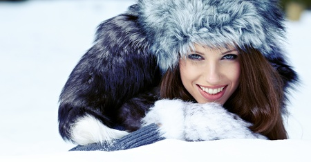 Winter woman on snow  photo