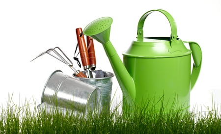 Garden tools and watering can with grass on white  Zdjęcie Seryjne