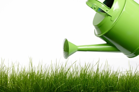 sprinkler: Watering can and grass Stock Photo