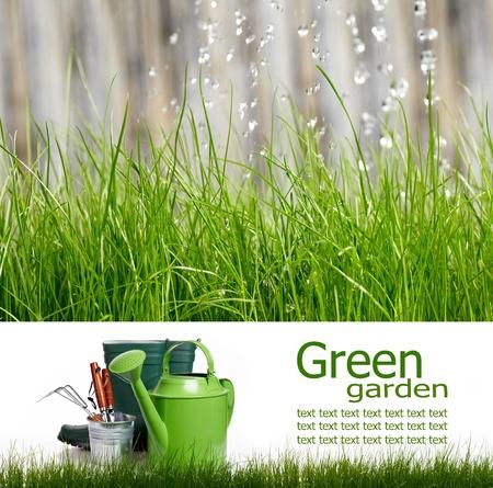 garden tools: Spring board concept  Stock Photo