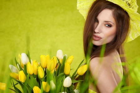 Beautiful spring woman portrait  green concept  photo