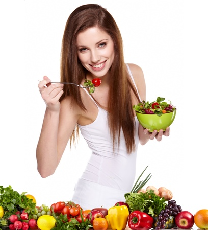 Woman with salad isolated on white Stock Photo - 12501845