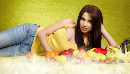 portrait of pretty woman with vegetables  photo
