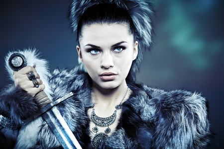 barbarian: Warrior woman  Fantasy fashion idea   Stock Photo
