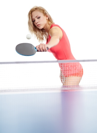 tischtennis: Sexy Sport Mädchen spielt Tischtennis