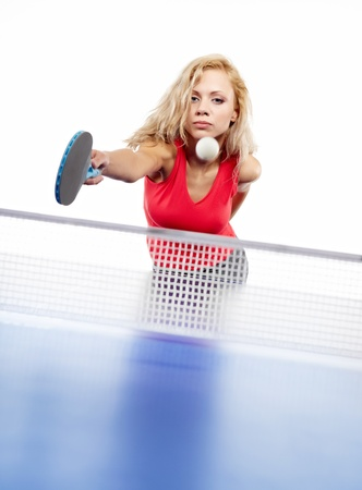 Fille sexy sport joue au tennis de table Banque d'images - 12763579