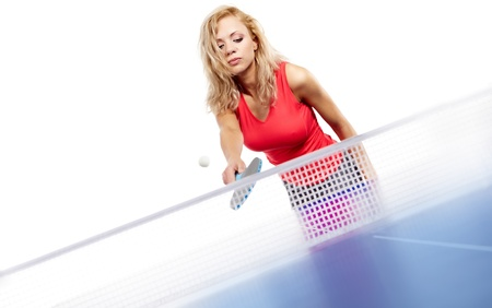 Sexy blonde  with  blue  table tennis photo