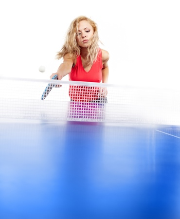 Sexy blonde  with  blue racket tplaying photo