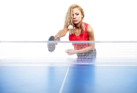 woman playing  table tennis isolated on white  photo