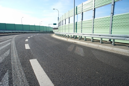 barrier: Noise barrier wall on a highway