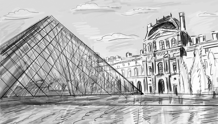 Louvre Palace in Paris, France - illustration Stock Photo