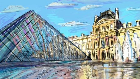 courtyard: Louvre Palace in Paris, France - illustration Stock Photo