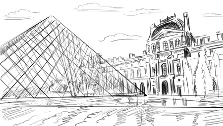 Louvre Palace in Paris, France - illustration illustration