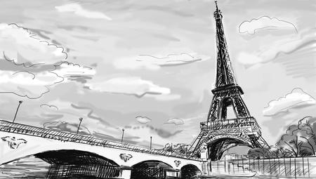 Parisian streets -Eiffel Tower illustration  illustration