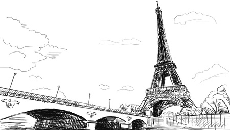 Parisian streets -Eiffel Tower illustration  illustration
