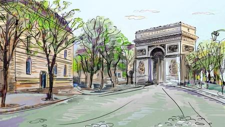 street lantern: Street in paris - illustration