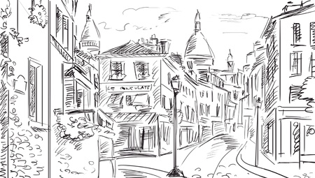 black and white line drawing: Street in paris - illustration