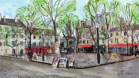 Street in paris - illustration  illustration