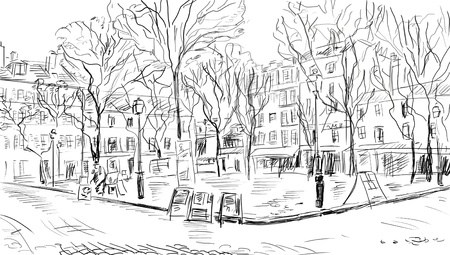 paris skyline: Street in paris - illustration