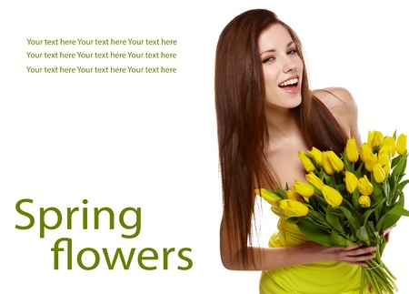 young womens: Woman with  tulips bouquet of flowers smiling isolated on white background